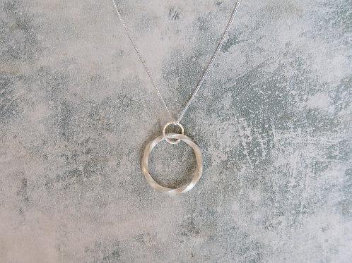 Silver Twist Circle Pendant Long Necklace, Satin Finish
