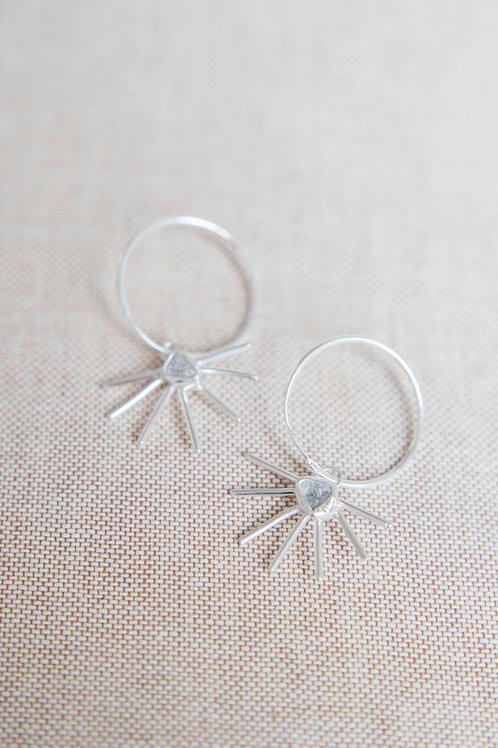 Raw White Diamond Star-Burst Hoops in Silver