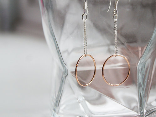 Steriling Silver & Rose Gold Filled Hoop Drops