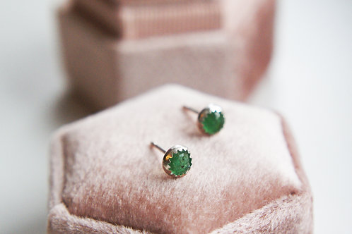 Emerald & Sterling Silver Stud Earrings
