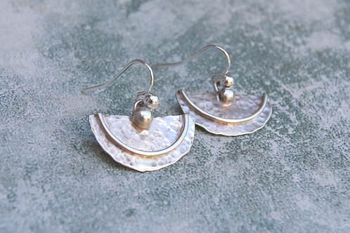 Handmade recycled silver hammered half moon earrings