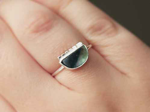 Green/ Teal Tourmaline Statement Ring in Sterling Silver