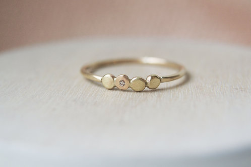 The Quartet - Solid 9ct Gold Ring with White Topaz