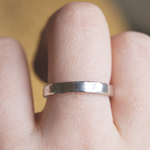 3mm Wide Nibbled Edge Silver Band