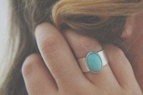 Chunky Amazonite Silver Ring
