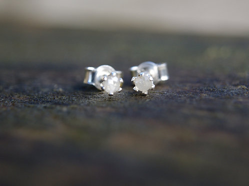 Tiny 2mm Raw Pale Grey Diamond Studs Rose Cut in Sterling Silver