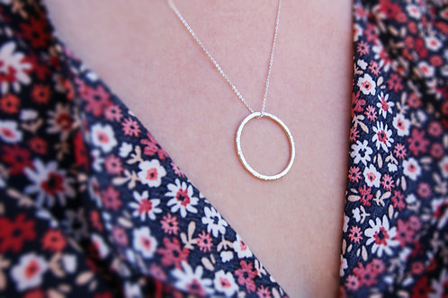 Simple Medium Hammered Silver Circle Pendant
