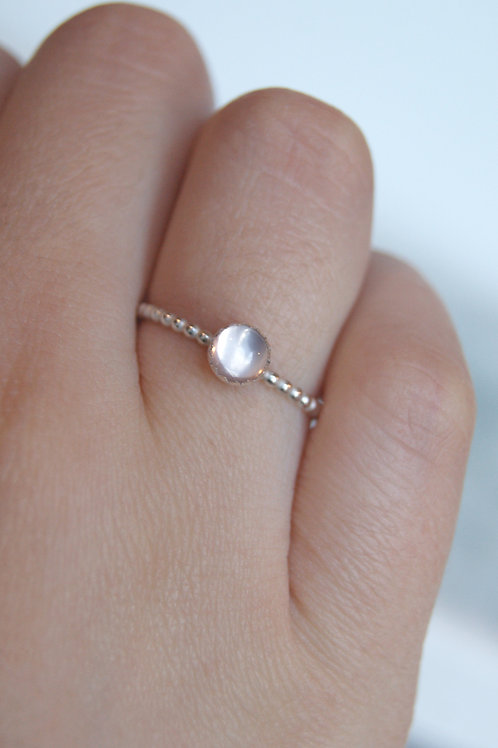 Rose Quartz Ring With Silver Ball Band, Silver Dot Stacking Ring