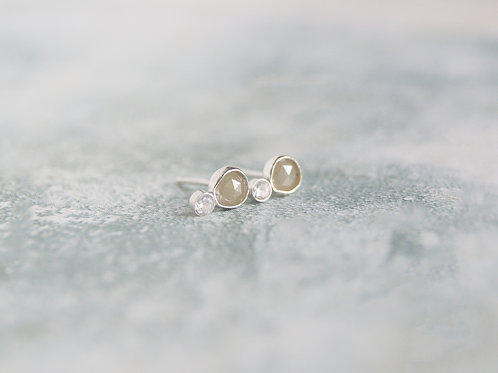Grey Diamond Studs in Sterling Silver with tiny CZ