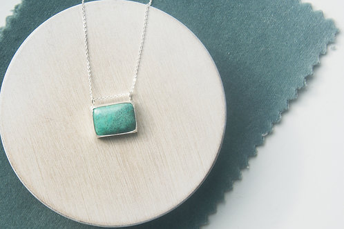 Turquoise Rectangular Pendant in Sterling Silver