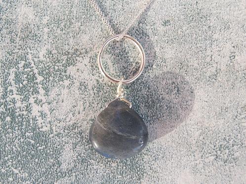 Labradorite Silver Circle Long Necklace