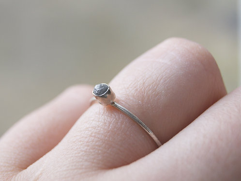 Tiny Raw Diamond Ring Sterling Silver
