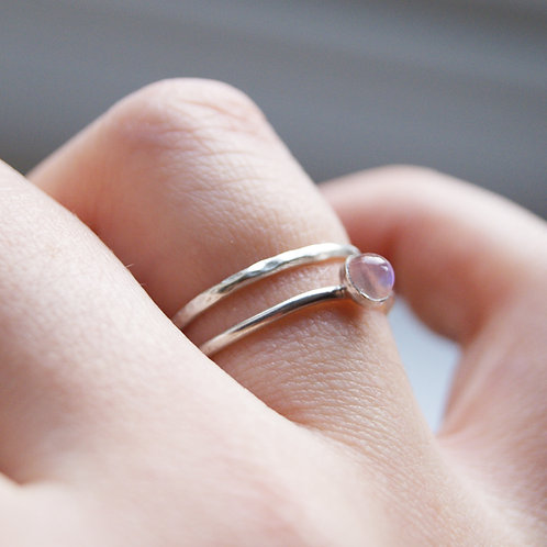 Silver Moonstone Ring With Optional Stacking Band