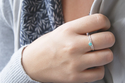 Tiny Amazonite Sterling Silver Stacking Ring Set with Hammered Band