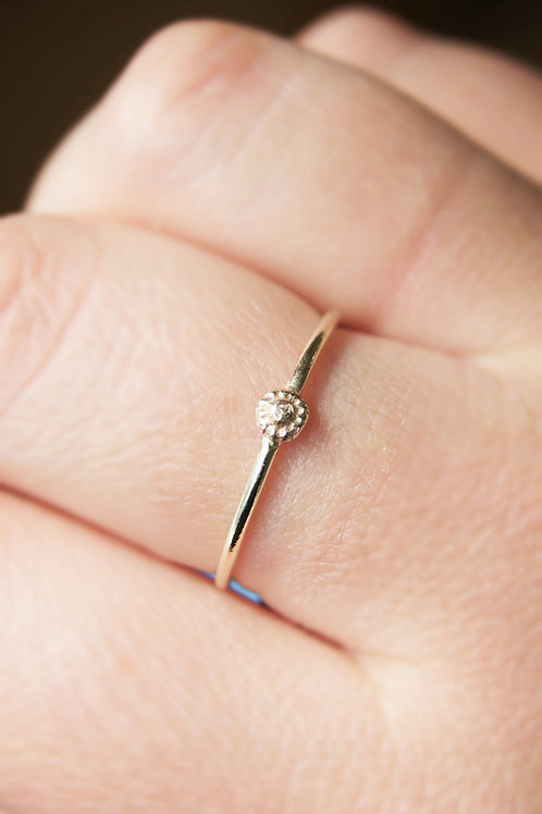 9ct Gold Tiny Sunflower Stacking Ring