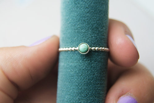 Natural Turquoise Silver Dot Ring