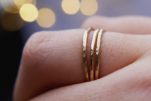 Solid 9ct Gold Hammered Stacking Ring