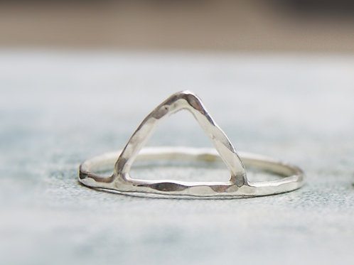 Hammered Silver Triangle Stacking Ring