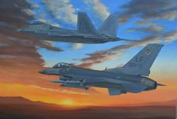 F-16C & F-22A Over Arizona
