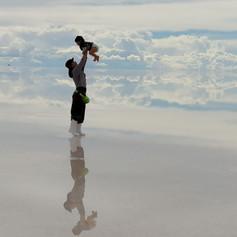 Salar de Uyuni @ Bolivia with my 2 years old boy