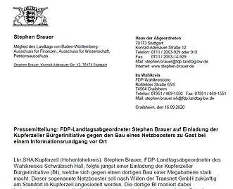 PM MdL Brauer auf Einladung der BI Kupfe