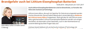 Brandgefahr Lithium-Eisenphosphat Batter