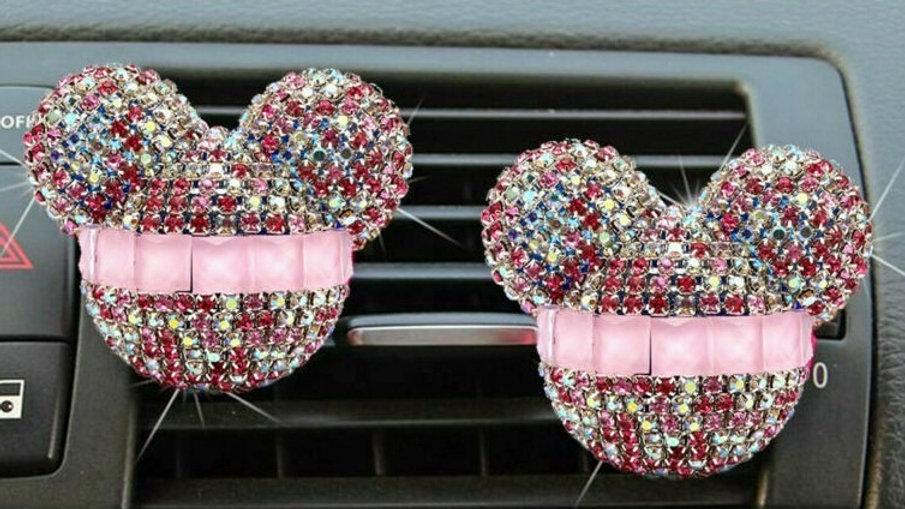 MICKEY PINK DIAMOND CAR CLIP