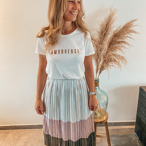 Plissé silver skirt