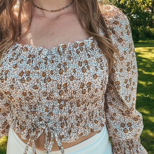 Flower crop blouse
