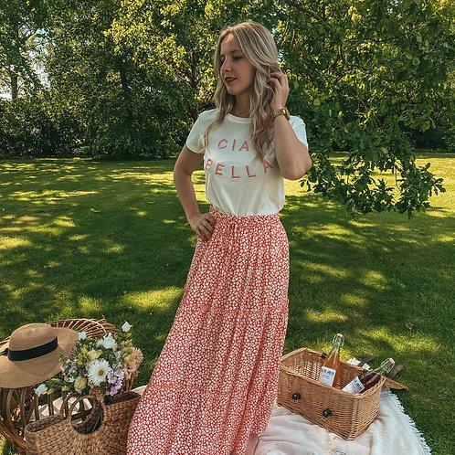 Flower red summer skirt