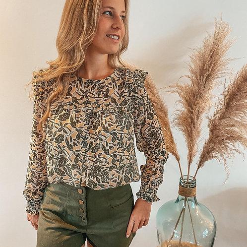 Flower blouse kaki
