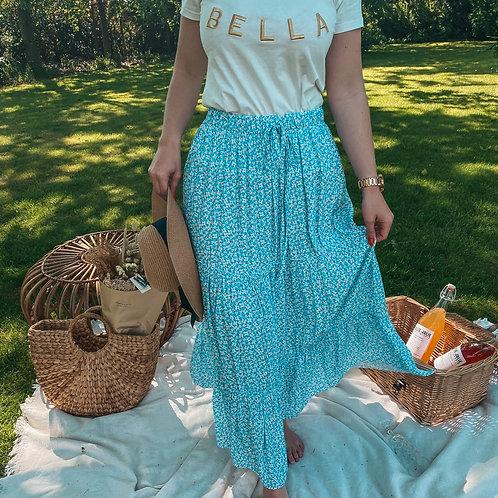 Flower blue summer skirt