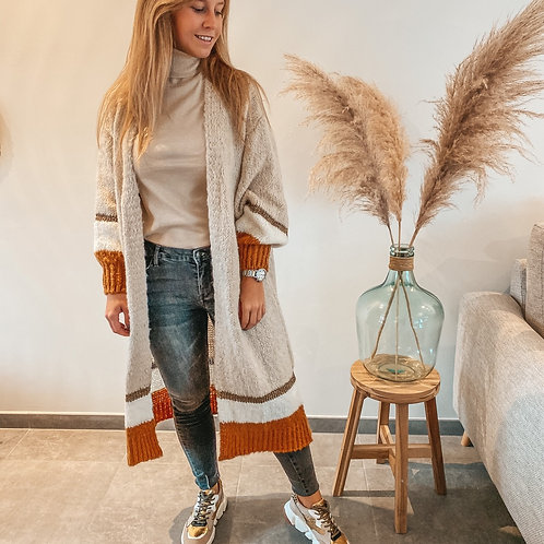 Long sweater gilet beige