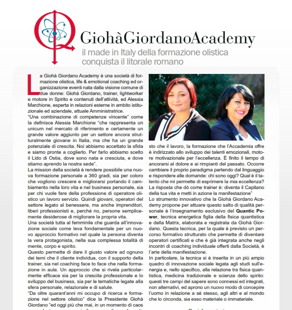 Giohà Giordano Academy: the Made in Italy of holistic training conquers the Roman coast