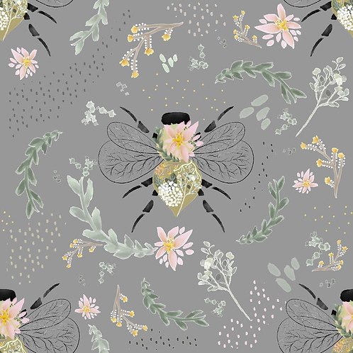 Grey Floral Bees - Blankets & Comforters