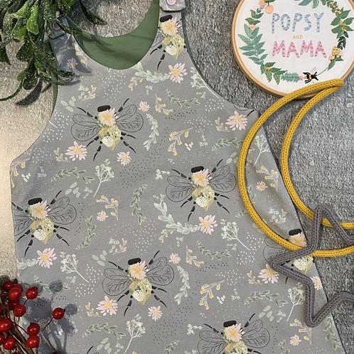 Grey Floral Bees Pinafore Dress 2-3y