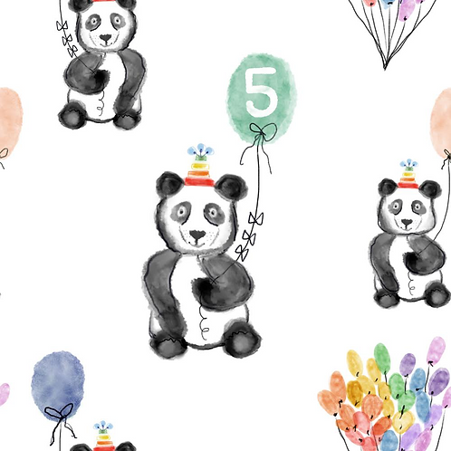 Birthday Panda 5 - Bibs, Teethers, Hairbands, Hats & Snood