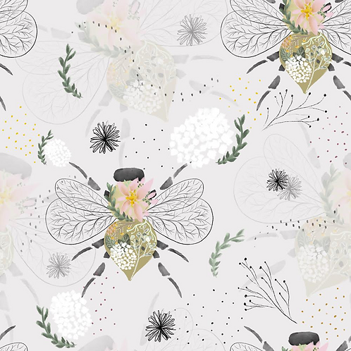 White Floral Bees - Older Children 6-10 years