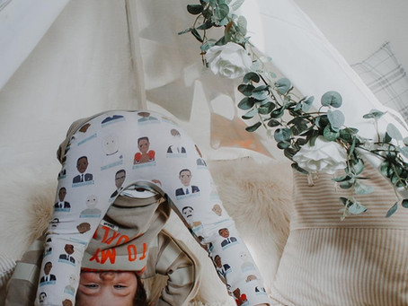 Handmade baby leggings in unique prints, sewn with care in the UK