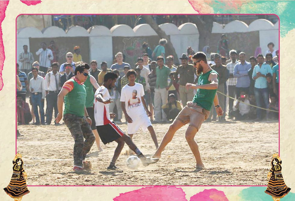 A friendly football match will be played at the Pushkar Mela Ground between foreign nationals and the local football team.