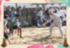 "Kabaddi is a contact sport that originated in ancient India. In the modern team version of kabaddi, two teams of seven members each occupy opposite halves of a field. The teams take turns sending a ""raider"" into the other half. To win a point, the raider must take a breath, run into the opposing half, tag one or more members of the opposite team, then return to his/ her home half before inhaling again. The raider will chant ""kabaddi, kabbadi"" with his/her exhaling breath to show the referee s/he has not inhaled. The raider will be declared out and will not gain the point if s/he inhales before returning to his/her side, or returns without touching an opponent. The tagged defender(s) will be out if they do not succeed in catching the raider who tagged them. Wrestling the raider to the ground can prevent him/her escaping before s/he needs to inhale"