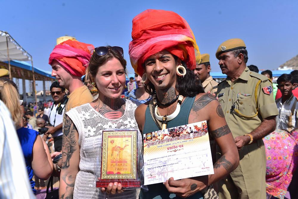 Internation visitors at Pushkar Mela