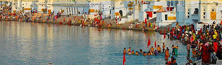 The Holy Dip  The importance of Pushkar lies in the fact that Lord Brahma the creator, once performed sacrifice for creation of the universe. He threw a lotus flower to select a suitable site for the said ceremony. The flower struck at Pushkar and water sprand up from there giving shape to the sacred lake of Pushkar. Each year during Pushkar Mela, pilgrims throng to the lake to commensurate this event and the temple city comes alive with luminous adornments and religious activities.