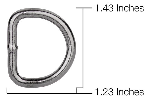 "Welded Steel D-Ring Black Nickel Plate (5/8"") Starting At:"