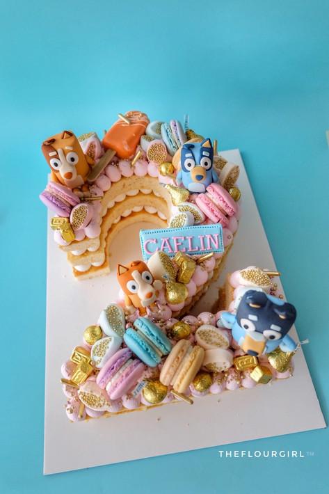 Bluey the dog themed single number monogram cake
