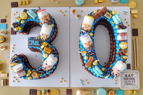 Bobba themed single number monogram cake