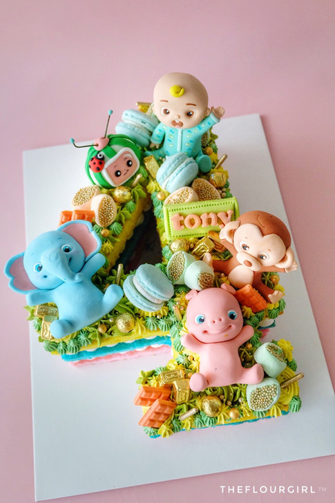 Cocomelon themed Single Number Cake
