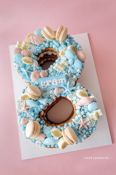 Seashells themed Single Number Monogram Cake