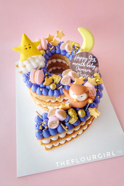 TWINKLE TWINKLE LITTLE STAR SINGLE NUMBER MONOGRAM CAKE