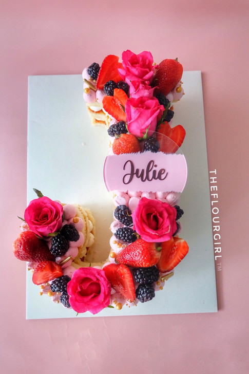 BERRIES AND ROSES MONOGRAM CAKE W/ ACRYLIC NAME TOPPER
